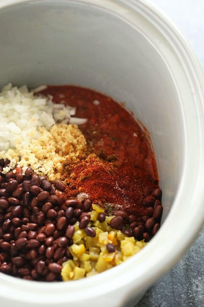 crock pot black bean soup in a slow cooker