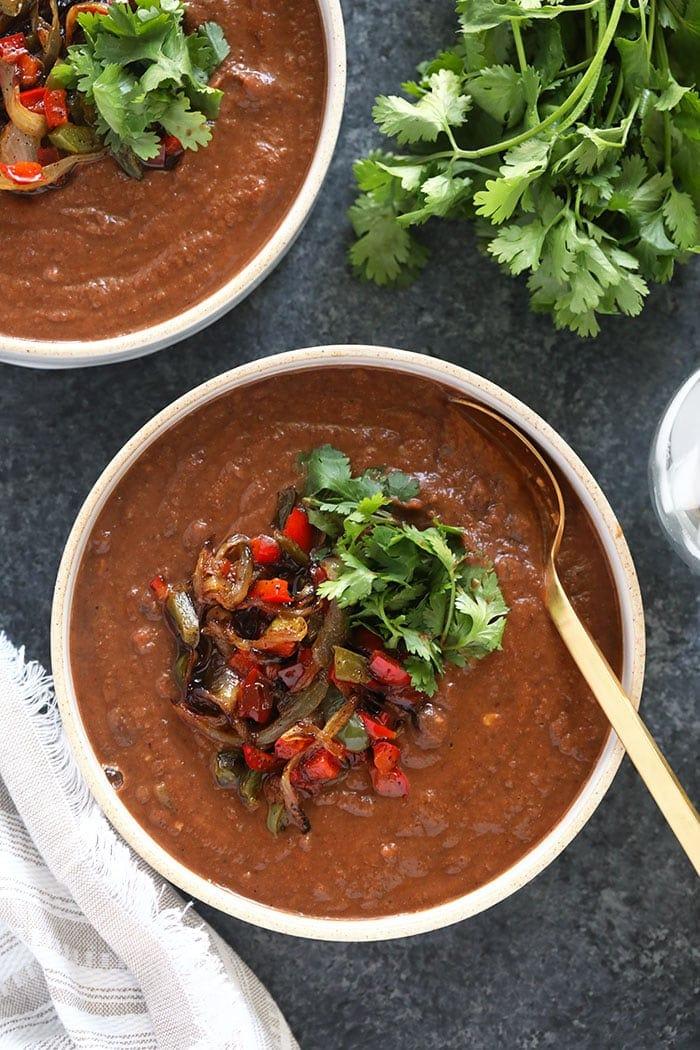 crock pot black bean soup in a bowl