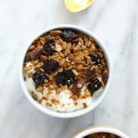 Granola on a yogurt parfait