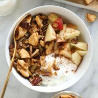 homemade granola in bowl with Greek yogurt
