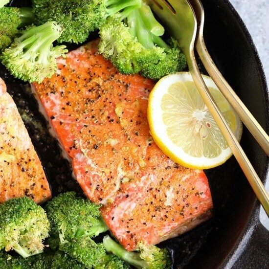 lemon pepper salmon in cast iron
