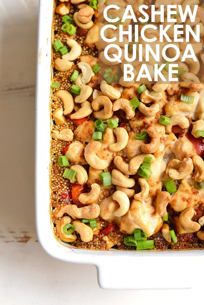 Cashew chicken quinoa bake ready to be baked in the oven.
