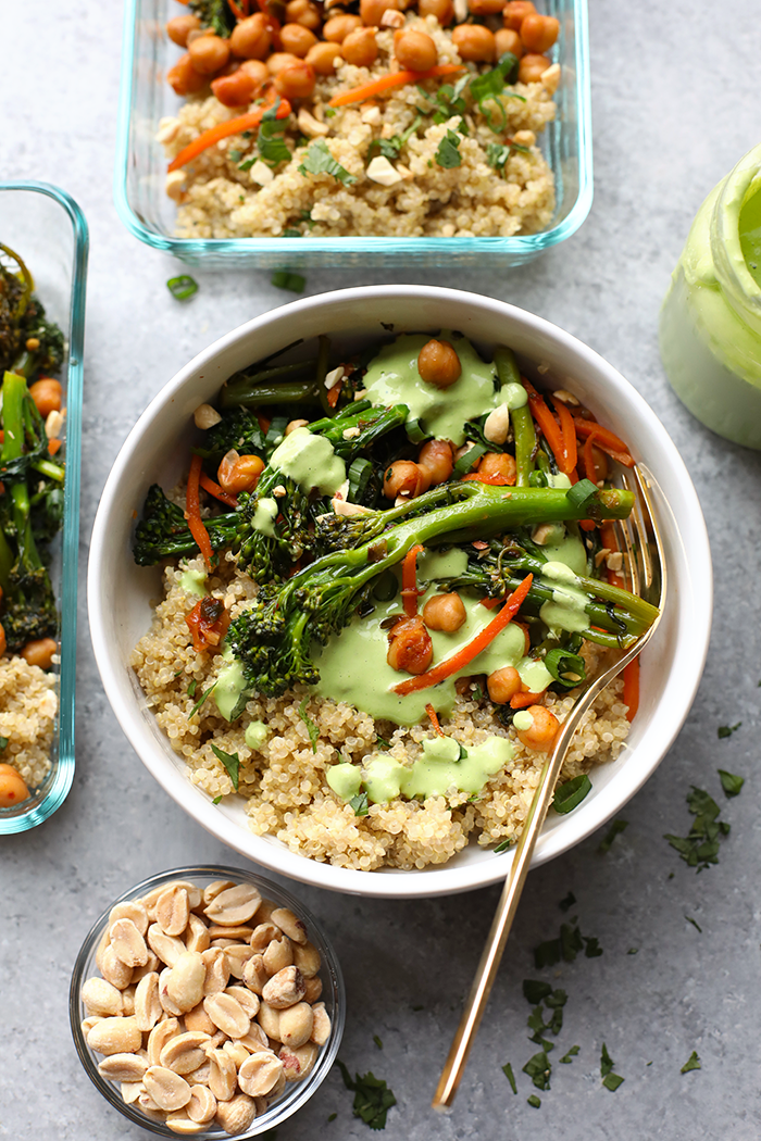 Vegetarian kung pao quinoa bowl served in a dish