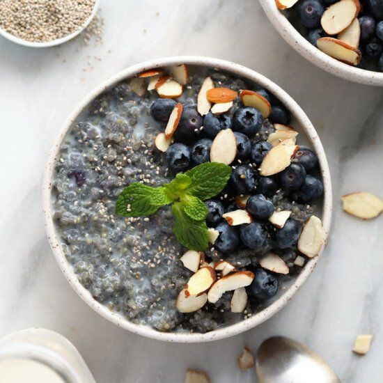 Blueberry breakfast quinoa in a bowl