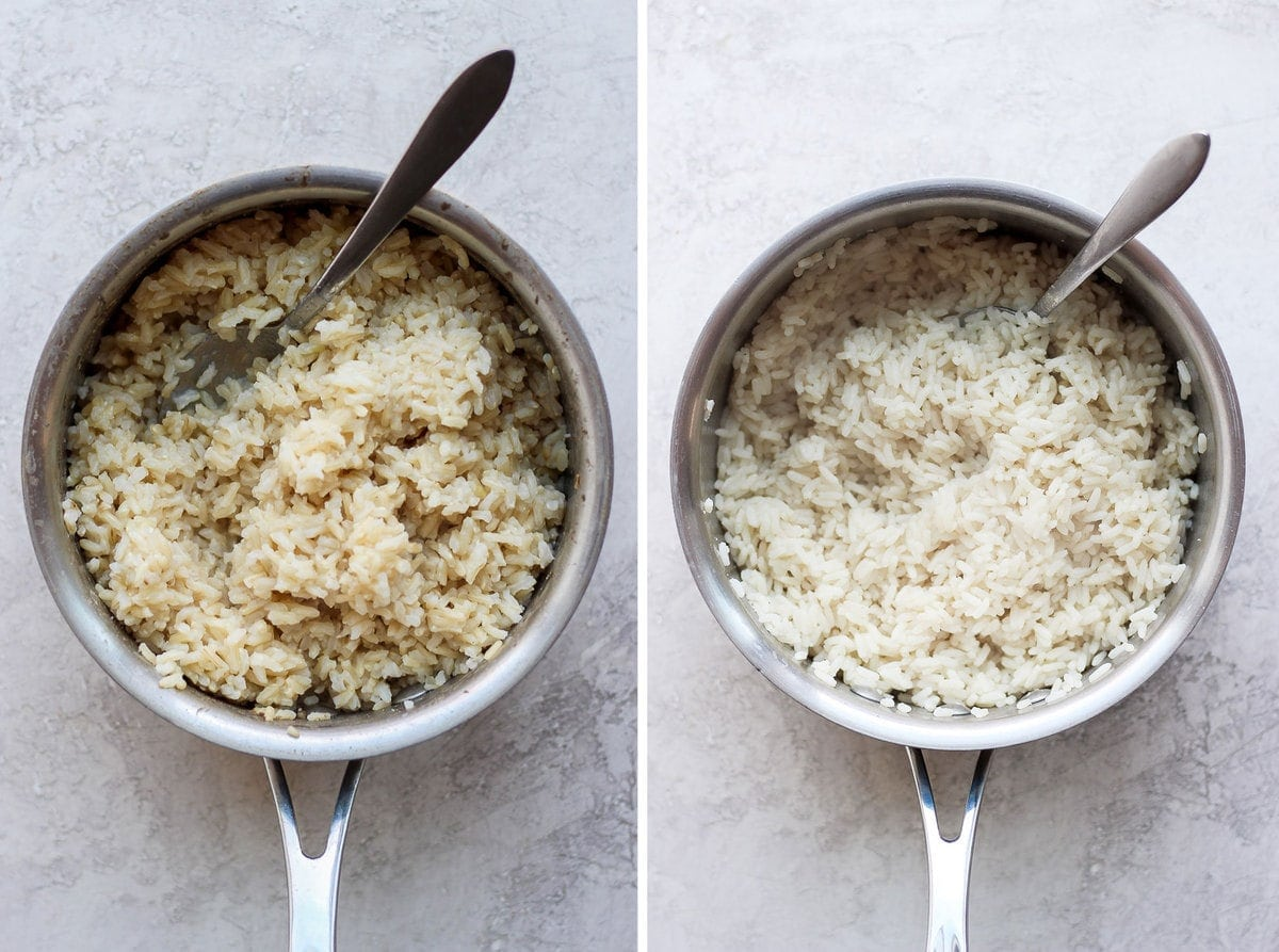 Brown Rice and White Rice in a pot