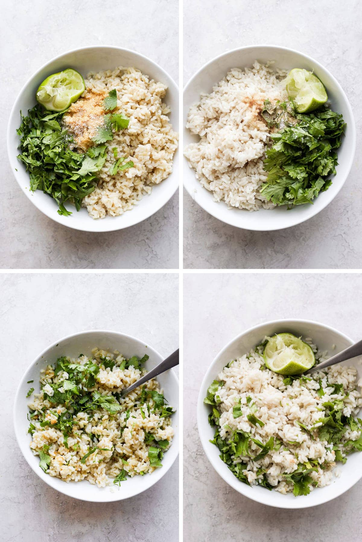 Every step for making cilantro lime rice