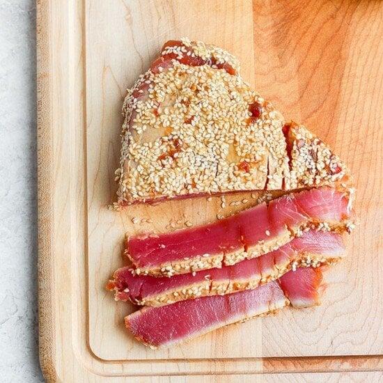 seared ahi tuna on a cutting board