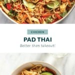 Chicken pad Thai in a pan and in a bowl.