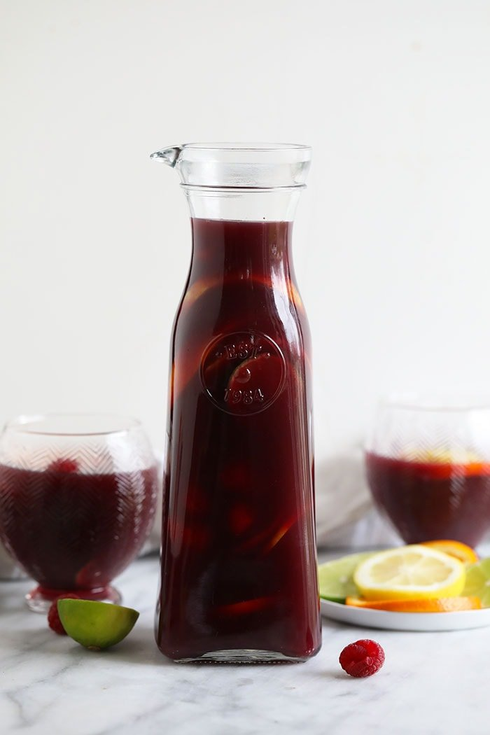 sangria in glass bottle