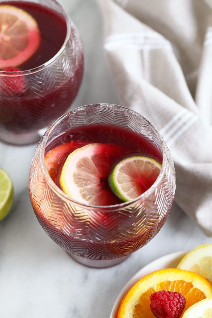 sangria in cup with sliced fruit