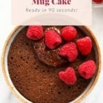 chocolate mug cake topped with raspberries and chocolate frosting