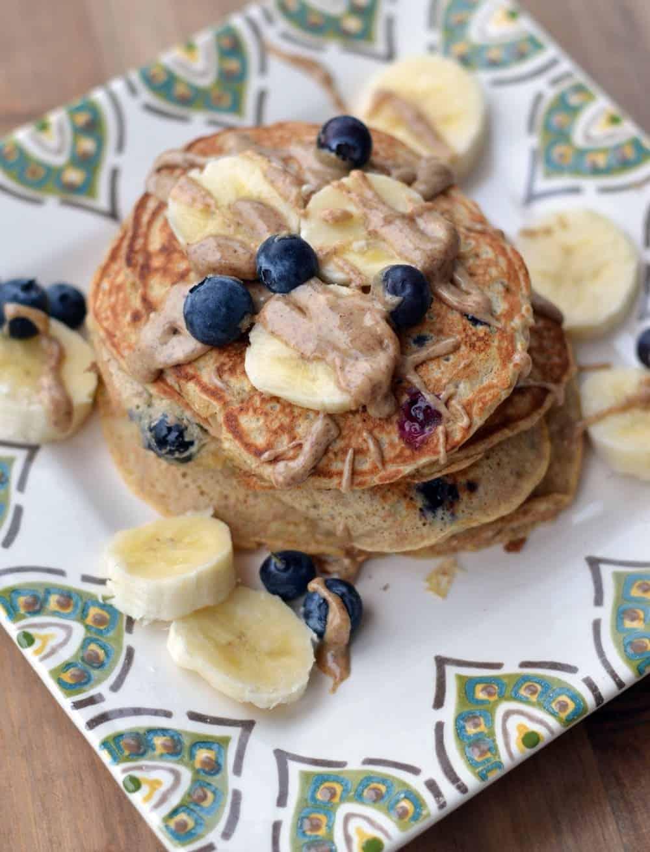 Blueberry Banana Whole Wheat Pancakes