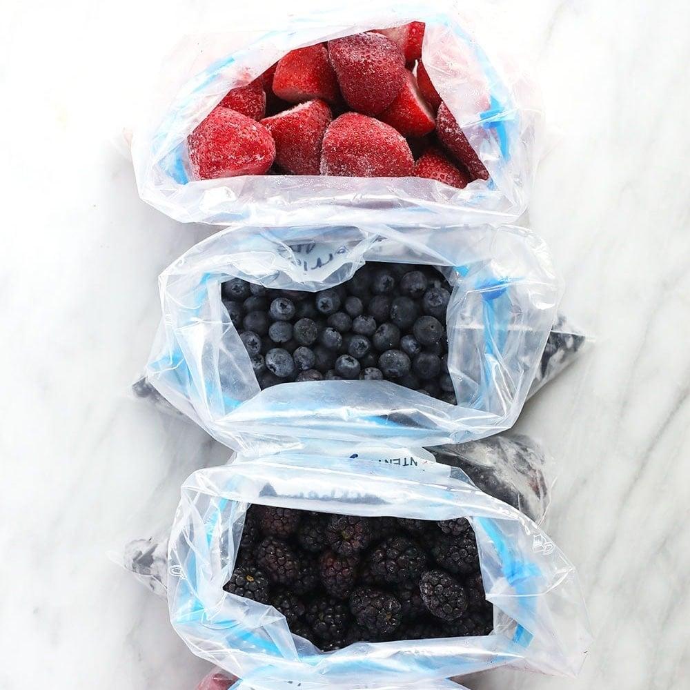 frozen berries in freezer safe bags
