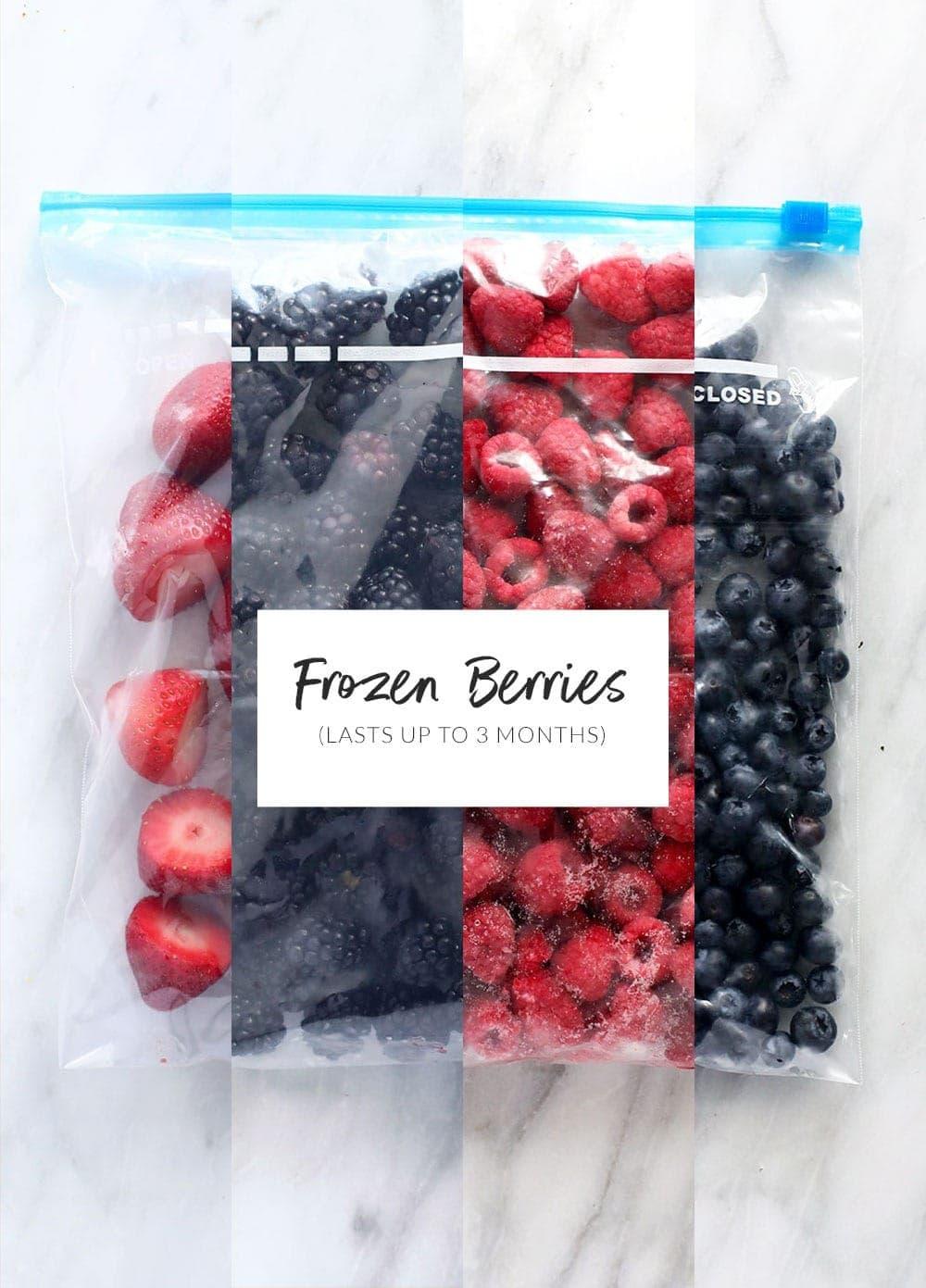 frozen berries in freezer safe ziplocs