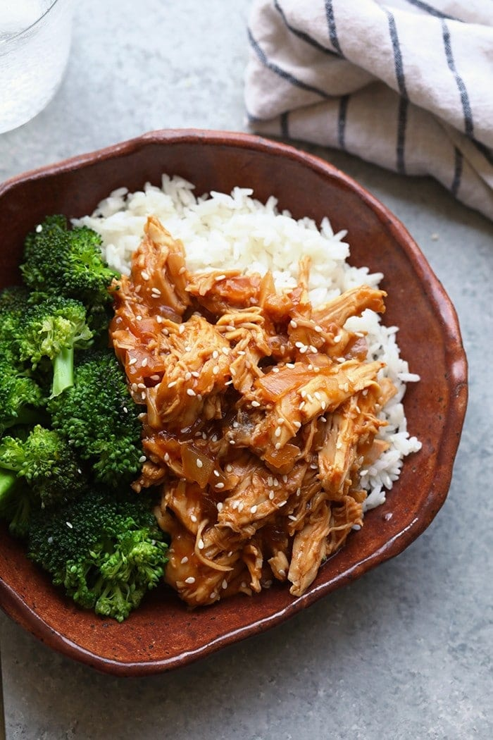crockpot sesame chicken in bowl