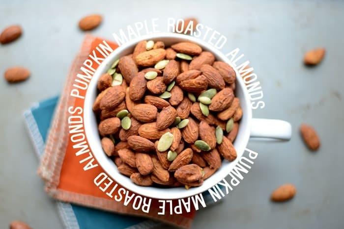 Pumpkin Maple Roasted Almonds #healthy #recipe