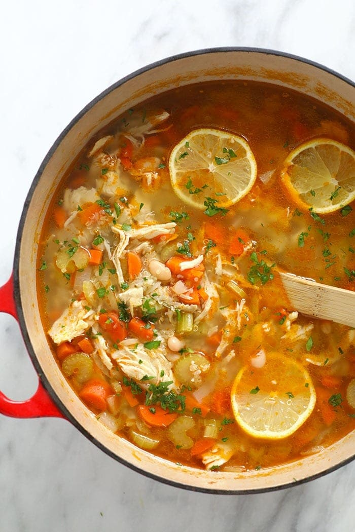 chicken quinoa soup in a pot