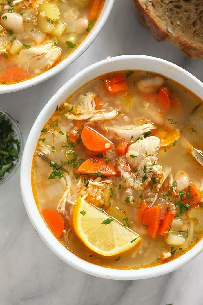 chicken quinoa soup in a bowl
