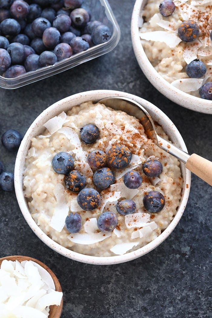 creamy coconut slow cooker steel cut oats in a bowl