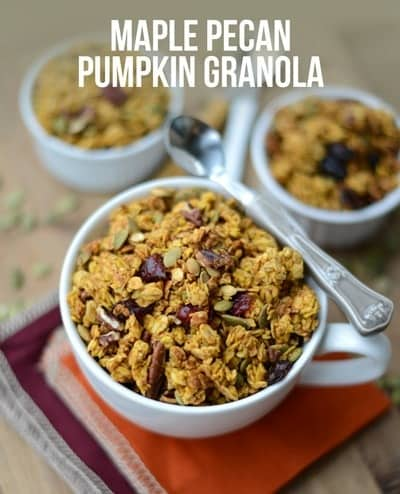 Get festive this fall and make this delicious maple pecan pumpkin granola for a flavorful autumn breakfast made with real ingredients!