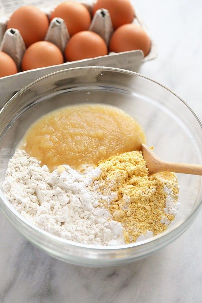 pancake ingredients in bowl