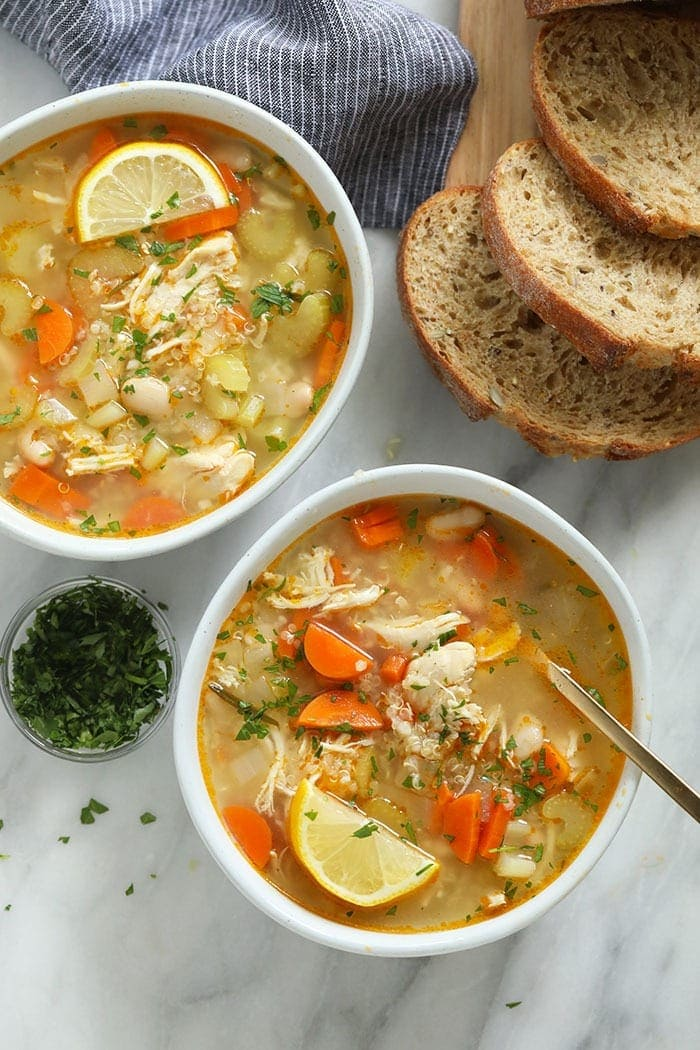 Chicken quinoa soup in bowls
