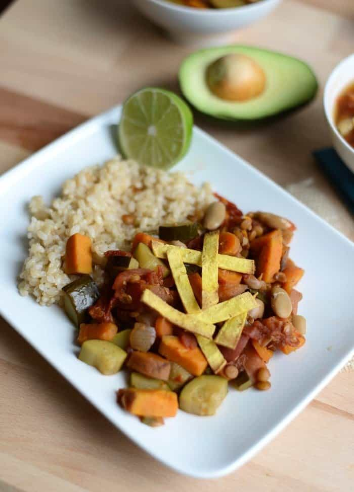 Vegan Sweet Potato Lentil Stew with Homemade Limey, Crunchy, Salty Tortilla Strip Soup Toppers