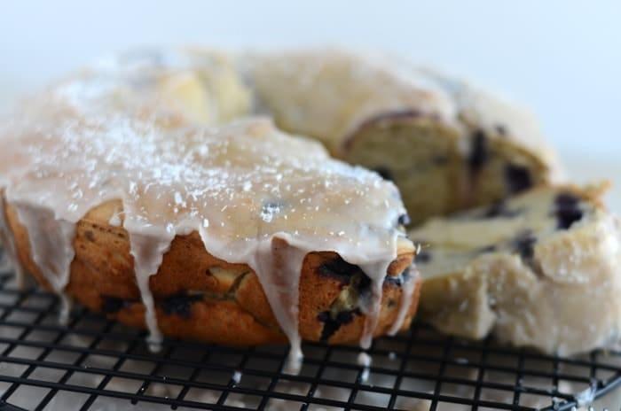Gluten Free Wild Berry Bundt Cake with Almond Cinnamon Glaze
