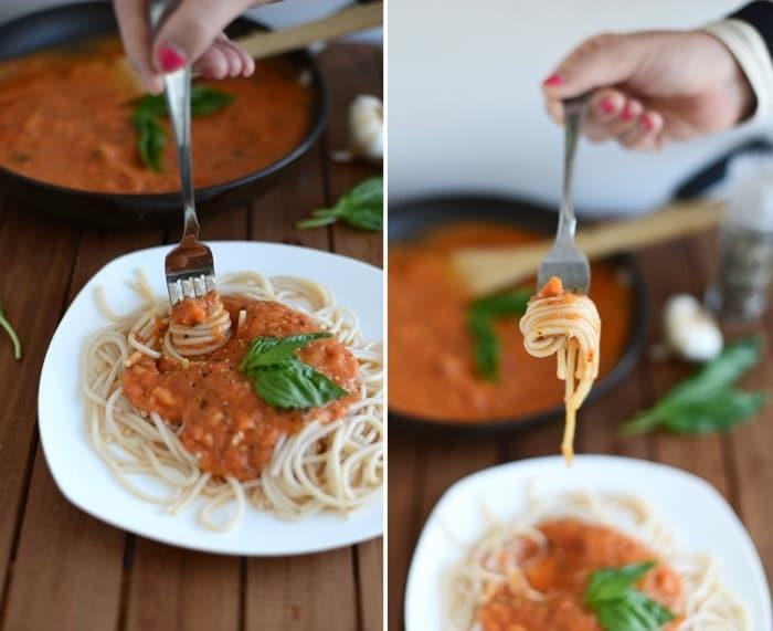 Homemade [Clean Eating] Roasted Tomato Basil Marinara Sauce