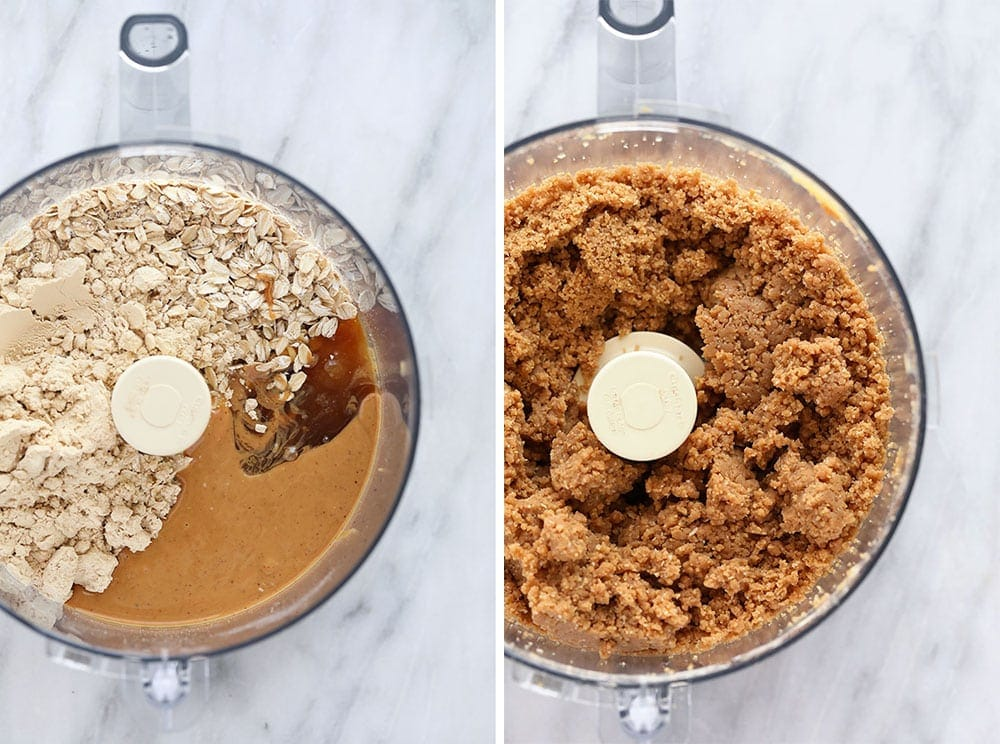 Before and after photos of ingredients in a food processor