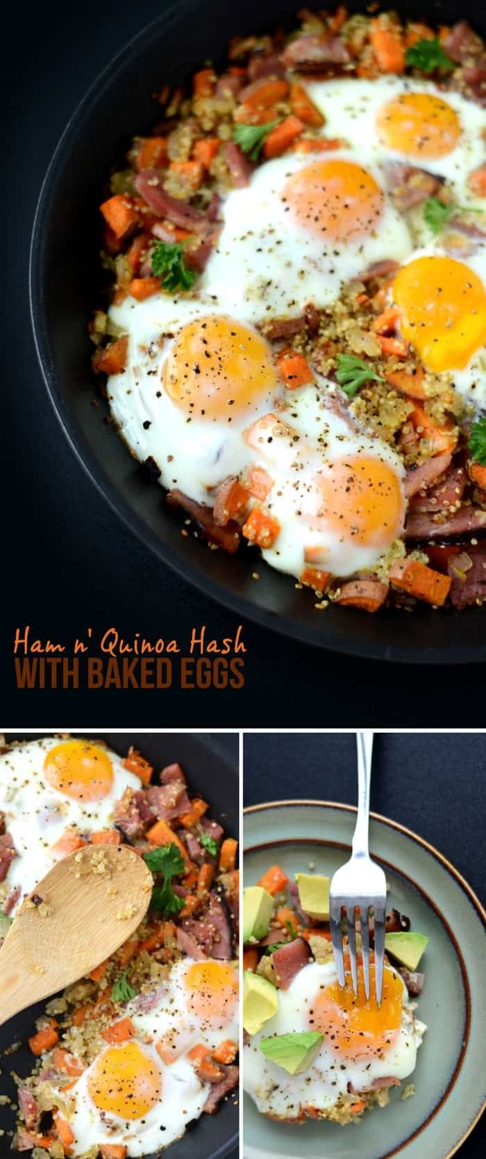 Ham and Quinoa Hash with Baked Eggs #glutenfree #breakfast | FitFoodieFinds.com