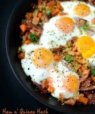 Ham n Quinoa Hash with Baked Eggs