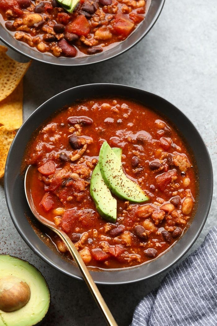 healthy turkey chili in bowl