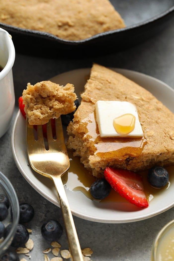 skillet pancake cake with syrup