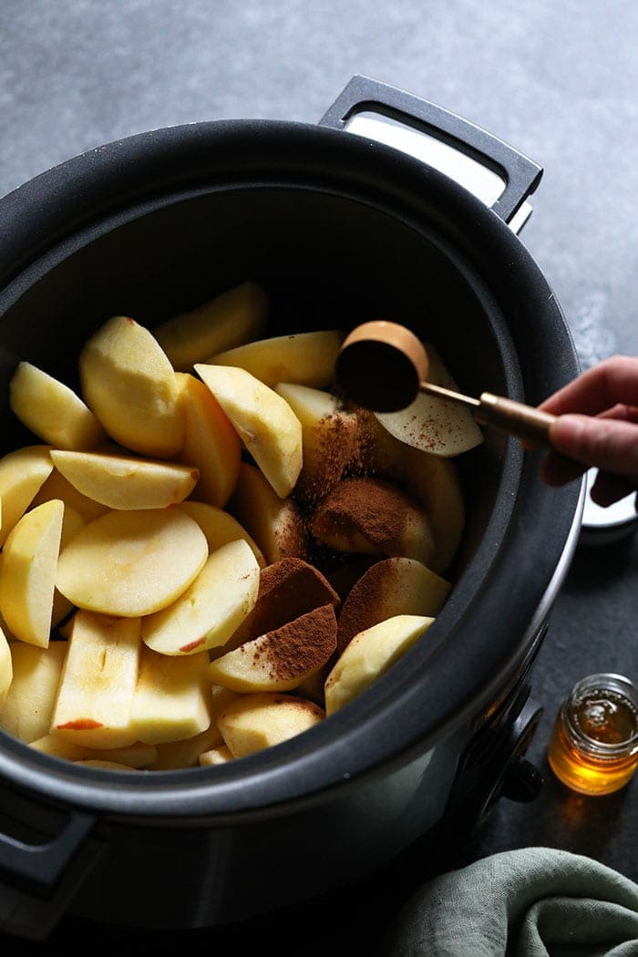 Sliced apples in a crockpot