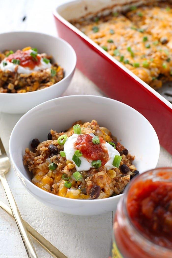 southwestern chicken casserole with Greek yogurt and salsa