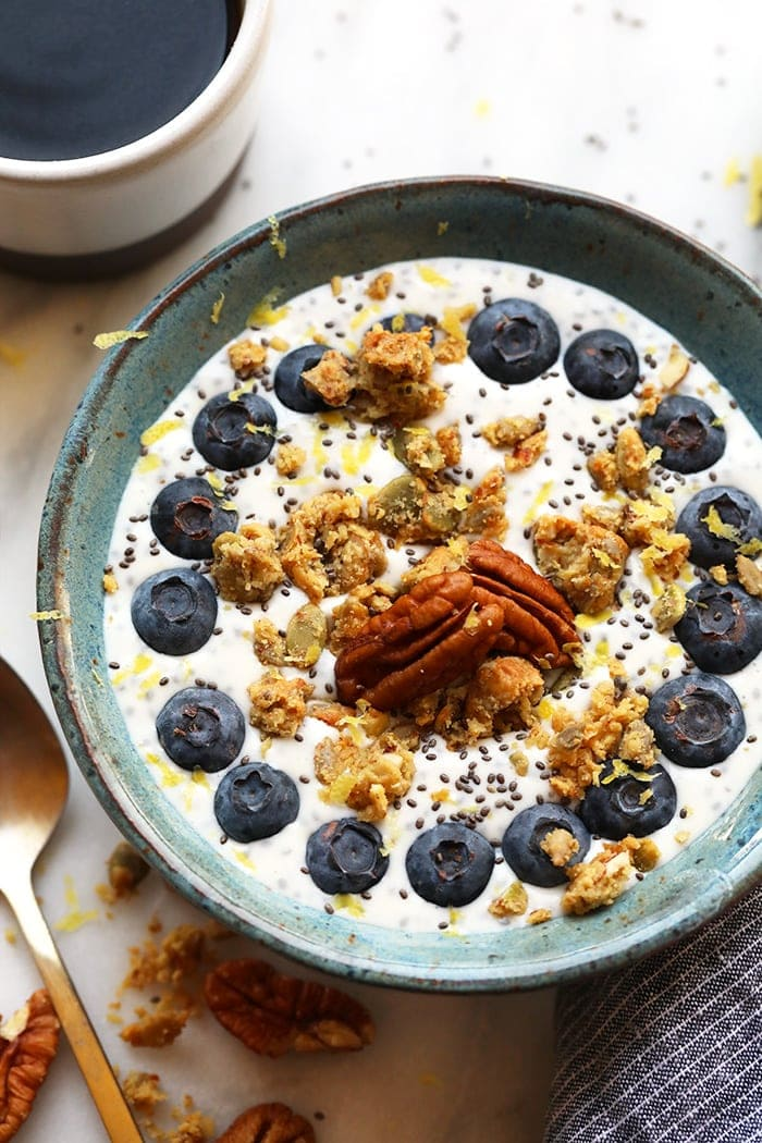 This chia yogurt bowl is packed with fiber, low in sugar, and is the perfect breakfast to fuel you for the day!