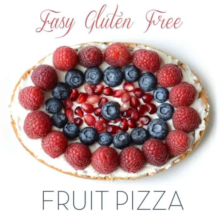 Easy Gluten Free Chocolate Chip Cookie Fruit Pizza made with @Pillsbury GF Chocolate Chip Cookie Dough! #sponsored