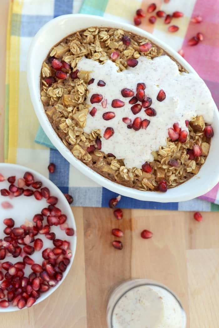Apple Cinnamon Baked Oatmeal with Pomegranates and Cinnamon Leche ...