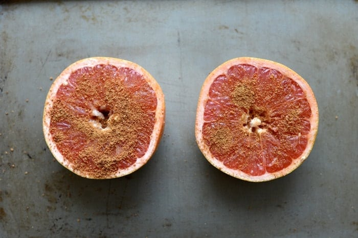 Broiled Grapefruit Spinach Salad