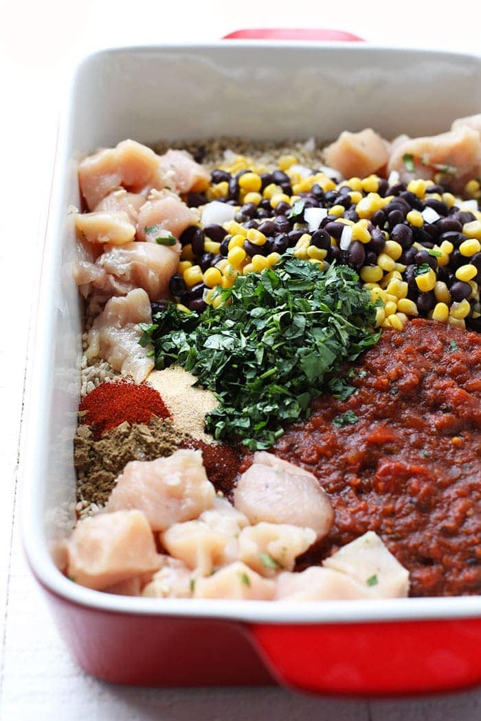 ingredients for chicken casserole in casserole dish
