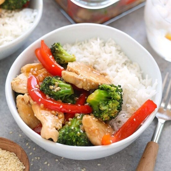 chicken and broccoli stir fry in a bowl