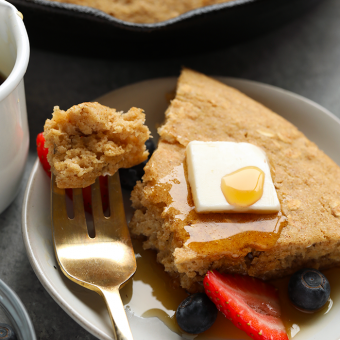 This scrumptious applesauce skillet pancake cake has all of your favorite things about the classic healthy pancake, minus that darn pancake flip. Aside from being easy to make, this breakfast skillet pancake cake gives you a satisfying and healthy meal to start off your day with.
