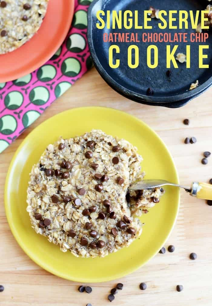 Single Serve Oatmeal Chocolate Chip Cookie #vegan #glutenfree #Fitfluential
