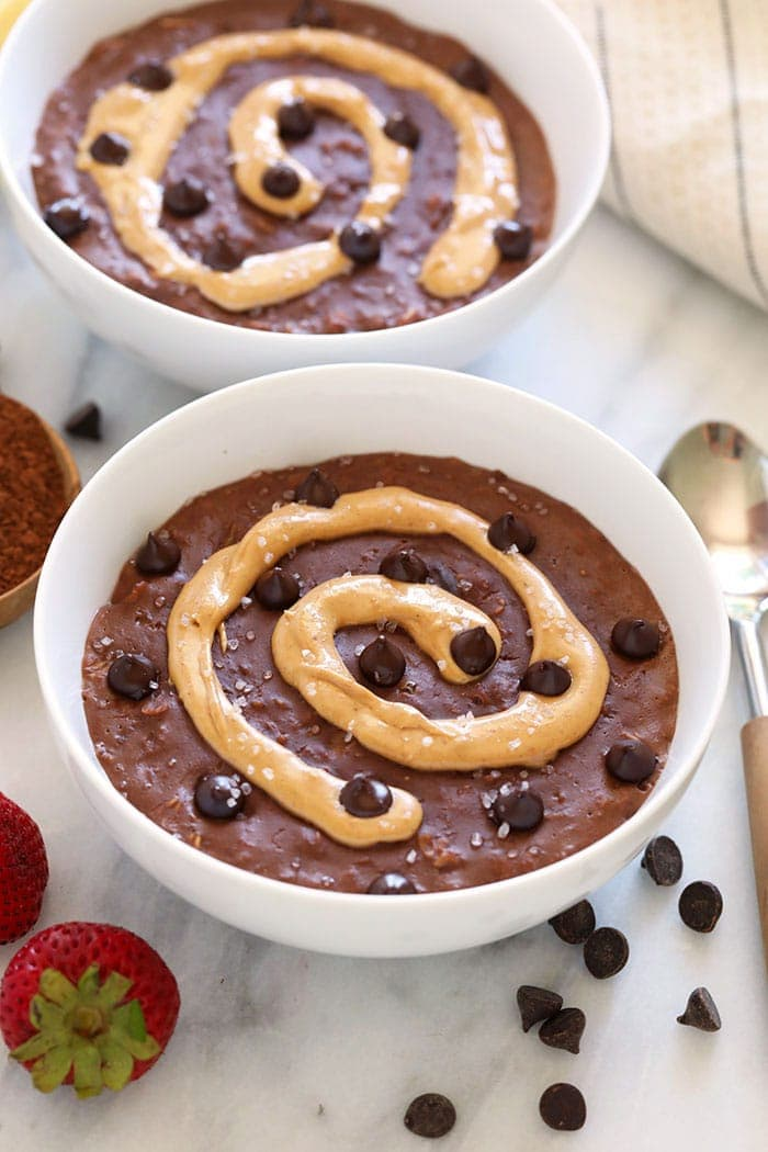 chocolate oatmeal with peanut butter swirl