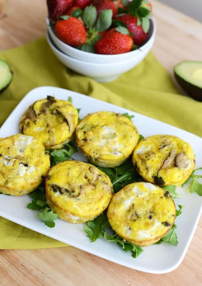 Asparagus and Shiitaki Mushroom Frittatas #GlutenFree via FitFoodieFinds.com