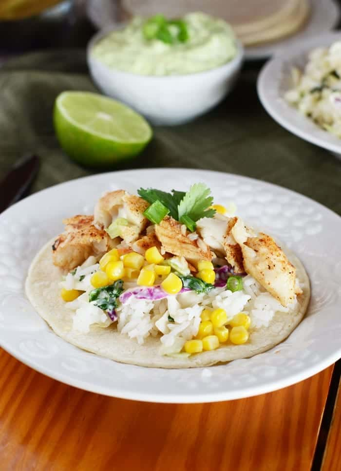 Jerk Fish Tacos with Asian Slaw and Avocado Lime Sauce
