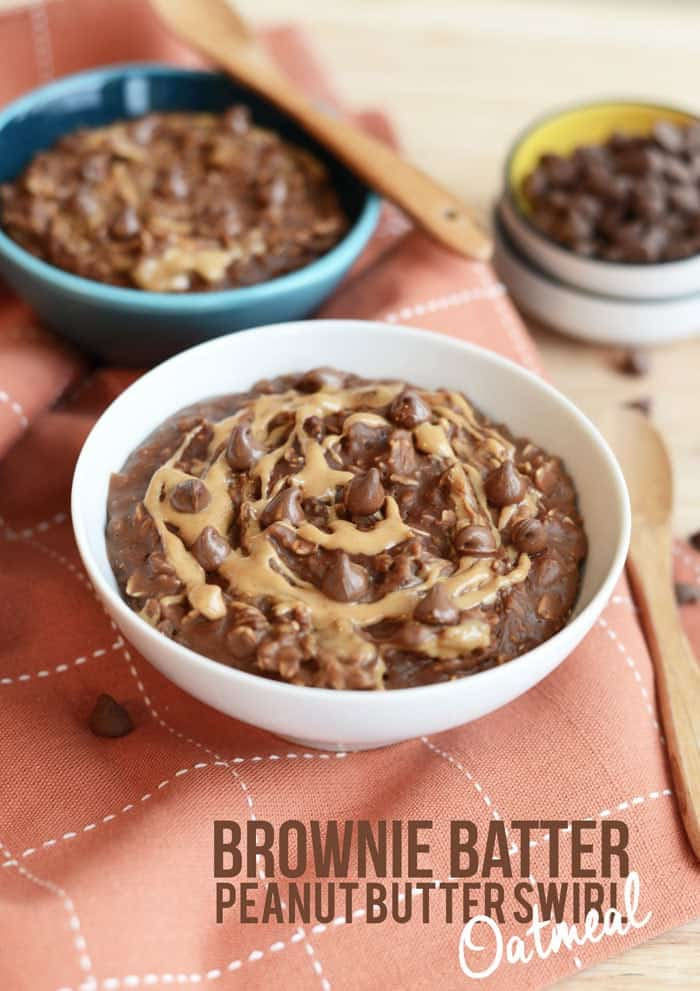 Brownie Batter Oatmeal with Peanut Butter Swirl via FITFOODIEFINDS.COM