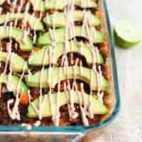 Mexican Quinoa and Sweet Potato Casserole with Chipotle Yogurt Sauce