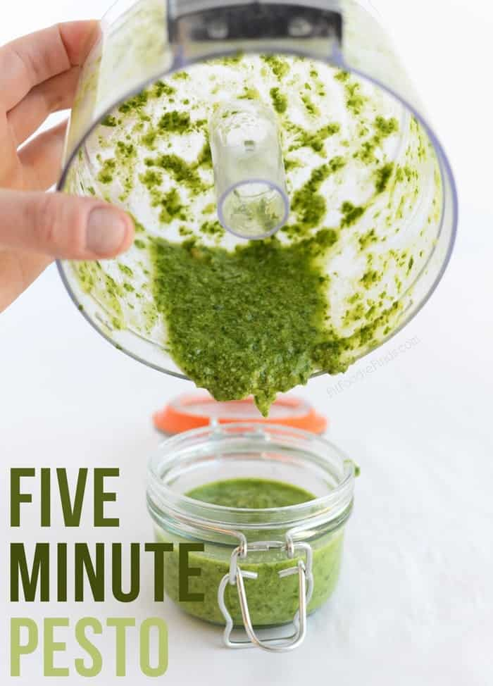 5-Minute Homemade Pesto made with just 5 simple ingredients! via FitFoodieFinds.com
